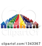 Clipart Of A Neighborhood Of Colorful Houses 3 Royalty Free Vector Illustration