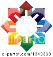 Clipart Of A Circle Of Colorful Houses Royalty Free Vector Illustration by ColorMagic #COLLC1343368-0187