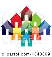 Clipart Of A Neighborhood Of Colorful Houses 4 Royalty Free Vector Illustration