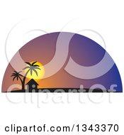 Clipart Of A Silhouetted Hut And Palm Trees Against A Tropical Sunset Royalty Free Vector Illustration