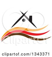 Clipart Of A House Over Orange Red And Brown Waves Royalty Free Vector Illustration