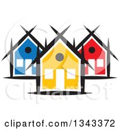 Clipart Of A Neighborhood Of Colorful Houses 5 Royalty Free Vector Illustration