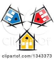 Clipart Of Colorful Houses Royalty Free Vector Illustration