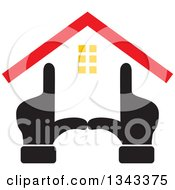 Clipart Of Black Hands Forming The Frame Of A House With A Red Roof Royalty Free Vector Illustration