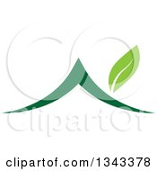 Clipart Of A Green House With A Leaf Chimney Royalty Free Vector Illustration