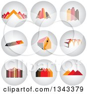 Clipart Of Round Shaded House And Skyscraper App Icon Button Design Elements Royalty Free Vector Illustration