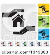 Clipart Of Rounded Corner Square Protective Hand And House App Icon Design Elements Royalty Free Vector Illustration