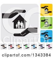 Clipart Of Rounded Corner Square Protective Hand Family And House App Icon Design Elements Royalty Free Vector Illustration