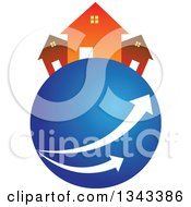 Clipart Of Neighboring Homes On A Blue Planet With Arrows Royalty Free Vector Illustration