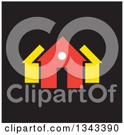 Clipart Of A Neighborhood Of Houses Over Black 2 Royalty Free Vector Illustration