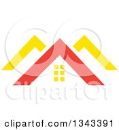 Clipart Of A Red And Yellow Roof Tops Royalty Free Vector Illustration