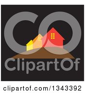 Clipart Of A Neighborhood Of Houses Over Black Royalty Free Vector Illustration