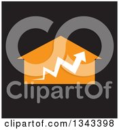 Clipart Of A White Arrow Over An Orange House On Black Royalty Free Vector Illustration