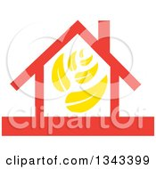 Clipart Of A Red House With Yellow Leaves Royalty Free Vector Illustration