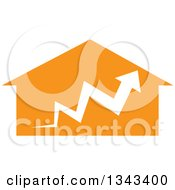 Clipart Of A White Arrow Over An Orange House Royalty Free Vector Illustration