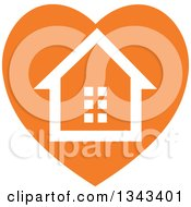 Clipart Of A White House In An Orange Heart Royalty Free Vector Illustration