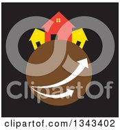 Clipart Of Neighboring Homes On A Brown Planet With Arrows Over Black Royalty Free Vector Illustration