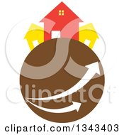 Clipart Of Neighboring Homes On A Brown Planet With Arrows Royalty Free Vector Illustration