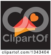 Clipart Of A Red And Orange House With A Heart Over Black Royalty Free Vector Illustration