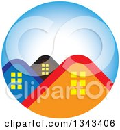 Clipart Of House Roof Tops In A Blue Circle Royalty Free Vector Illustration