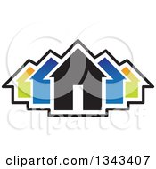 Clipart Of A Neighborhood Of Colorful Houses Royalty Free Vector Illustration by ColorMagic #COLLC1343407-0187