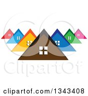Clipart Of A Neighborhood Of Colorful Houses 2 Royalty Free Vector Illustration