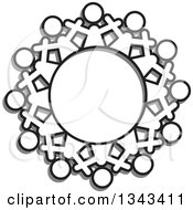 Clipart Of A Teamwork Unity Circle Of Black And White People Cheering With Shadows Royalty Free Vector Illustration