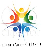 Clipart Of A Teamwork Unity Circle Of Colorful People Cheering Or Dancing 22 Royalty Free Vector Illustration by ColorMagic