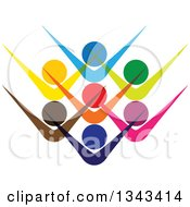 Clipart Of A Teamwork Unity Group Of Colorful People Cheering 2 Royalty Free Vector Illustration