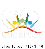 Clipart Of A Teamwork Unity Group Of Colorful People Cheering 3 Royalty Free Vector Illustration by ColorMagic