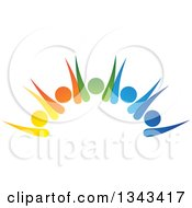 Clipart Of A Teamwork Unity Group Of Colorful People Cheering 4 Royalty Free Vector Illustration by ColorMagic