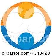 Clipart Of A Blue And Orange Couple Holding Hands And Forming A Circle Royalty Free Vector Illustration