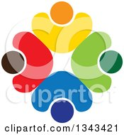 Clipart Of A Teamwork Unity Circle Of Colorful People Cheering Or Dancing 38 Royalty Free Vector Illustration by ColorMagic
