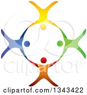 Clipart Of A Teamwork Unity Circle Of Colorful People Cheering Dancing Or Free Falling And Holding Hands While Sky Diving 2 Royalty Free Vector Illustration by ColorMagic