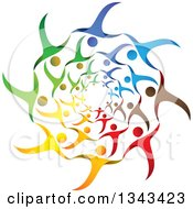 Clipart Of A Teamwork Unity Circle Of Colorful People Cheering Or Dancing 42 Royalty Free Vector Illustration