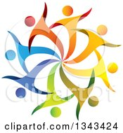 Clipart Of A Teamwork Unity Circle Of Colorful People Cheering Or Dancing 44 Royalty Free Vector Illustration