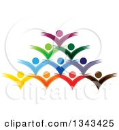Clipart Of A Teamwork Unity Group Of Colorful People Cheering 6 Royalty Free Vector Illustration