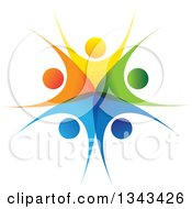 Clipart Of A Teamwork Unity Circle Of Colorful People Cheering Or Dancing 54 Royalty Free Vector Illustration