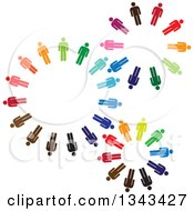 Clipart Of Teamwork Unity Gears Of Colorful People Royalty Free Vector Illustration