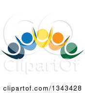 Clipart Of A Teamwork Unity Group Of Colorful People Cheering 12 Royalty Free Vector Illustration