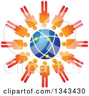 Clipart Of A Teamwork Unity Circle Of Orange Men Around A Blue Globe Royalty Free Vector Illustration