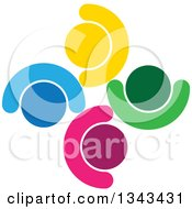 Clipart Of A Teamwork Unity Circle Of Colorful People Cheering Or Dancing 62 Royalty Free Vector Illustration