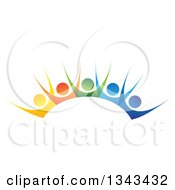 Clipart Of A Teamwork Unity Group Of Colorful People Cheering Royalty Free Vector Illustration