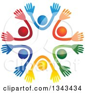 Clipart Of A Teamwork Unity Circle Of Colorful People Cheering Or Dancing 17 Royalty Free Vector Illustration
