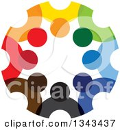 Clipart Of A Teamwork Unity Circle Of Colorful People 58 Royalty Free Vector Illustration