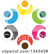 Clipart Of A Teamwork Unity Circle Of Colorful People Cheering Or Dancing 71 Royalty Free Vector Illustration
