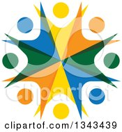 Clipart Of A Teamwork Unity Circle Of Colorful People Cheering Or Dancing 67 Royalty Free Vector Illustration
