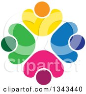 Clipart Of A Teamwork Unity Circle Of Colorful People Cheering Or Dancing 66 Royalty Free Vector Illustration