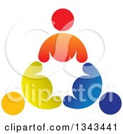Clipart Of A Circle Of Colorful Diverse People 6 Royalty Free Vector Illustration