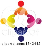 Clipart Of A Circle Of Colorful Diverse People 7 Royalty Free Vector Illustration